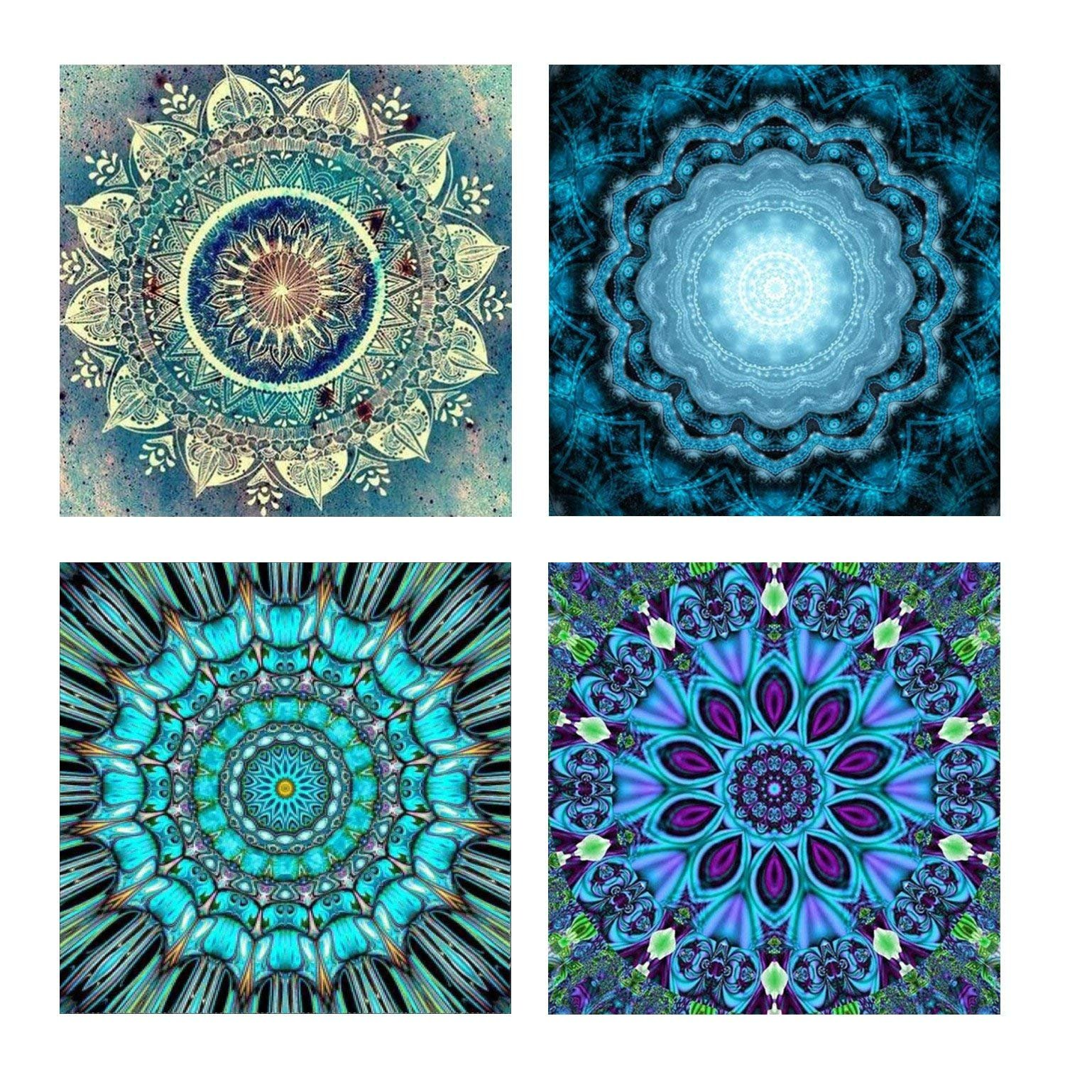 4 Pack 5D DIY Diamond Painting Set Decorating Cabinet Table Stickers Crystal Rhinestone Diamond Embroidery Paintings Pictures For Study Room, Flower Painting(25X25CM/9.8X9.8inch) M-Aimee