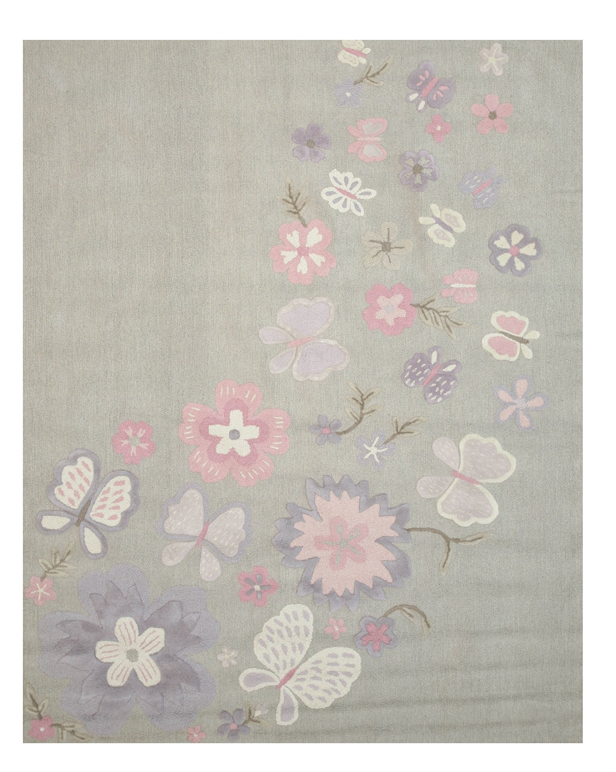 EORC T138GY5X8 Hand Tufted Wool Kid's Butterfly Rug, 5' by 8', Grey