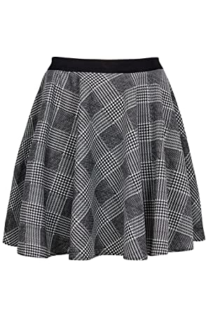 43490101168 Yours Clothing Women s Plus Size Limited Collection   White Checked Skater  Skirt Size ...