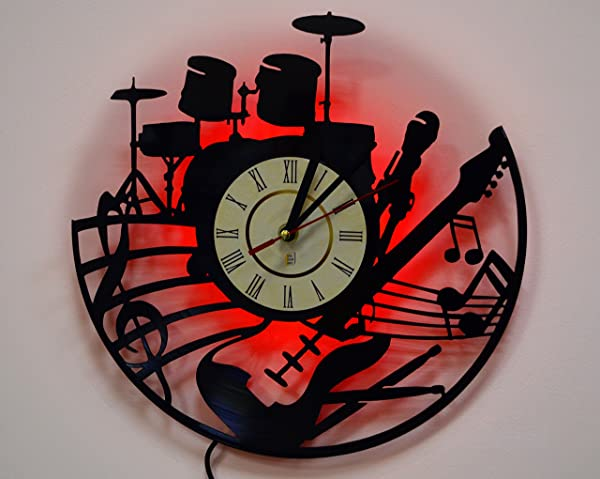 Led wall lights night light wall lamp guitar and drums wall clock led wall lights night light wall lamp guitar and drums wall clock aloadofball Images