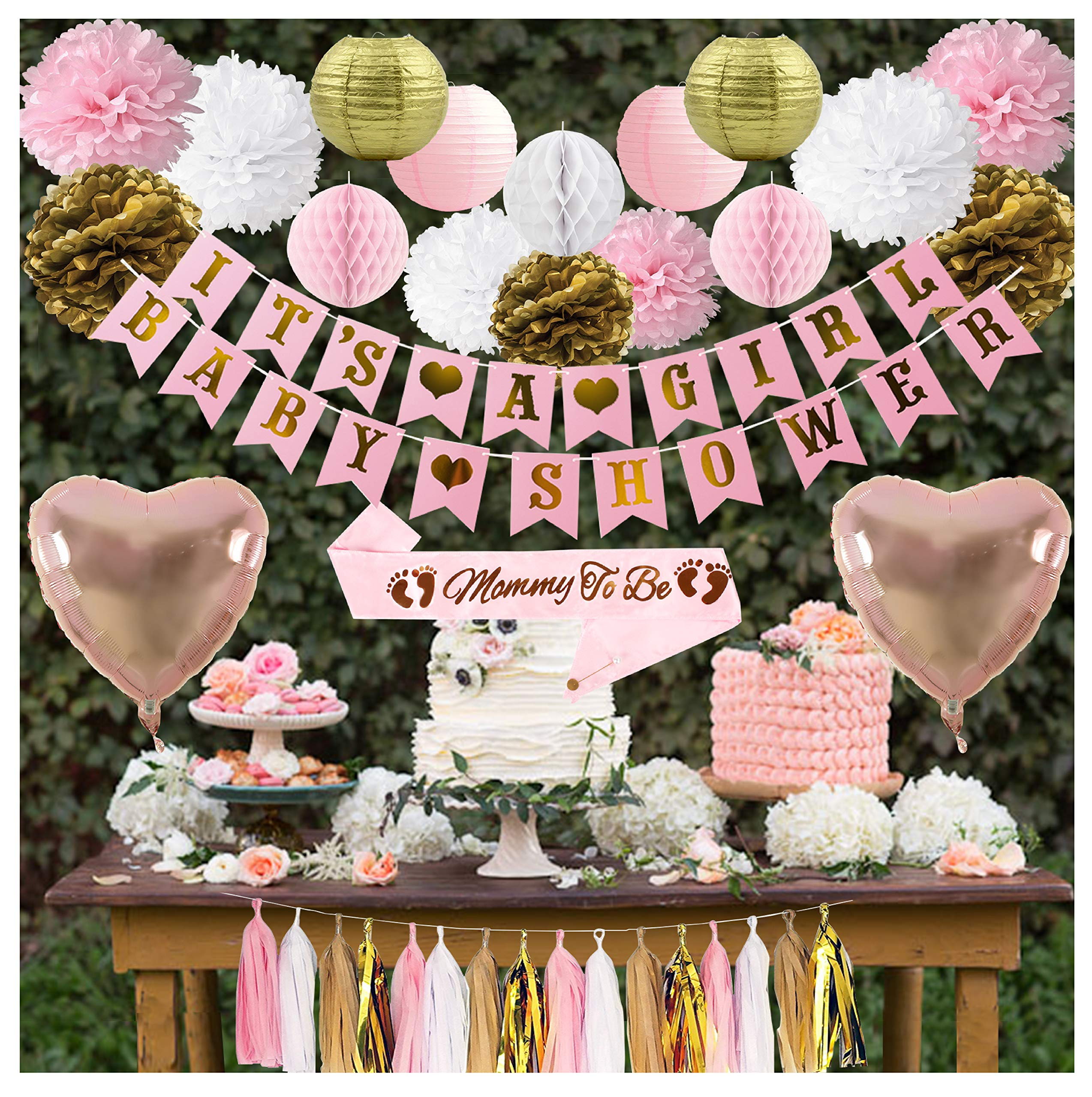 Mom's Great Choice Baby Girl Shower Decorations Set | Mommy to Be Sash | Its a Girl & Baby Shower Banner | Heart Shaped Foil Balloons | Pom Poms | Tissue Garland | Lanterns | Perfect for Gifts