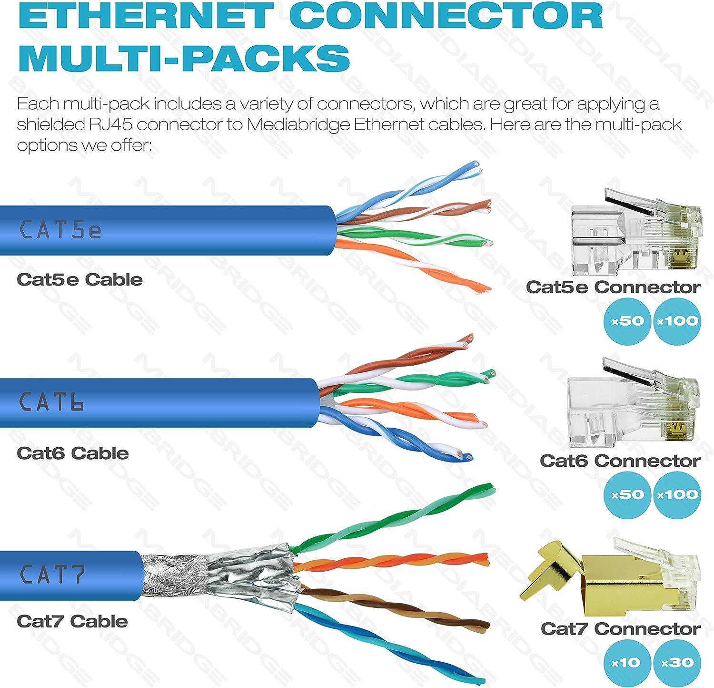 Amazon.com: Mediabridge Cat7 Connector (Gold Shielded) - RJ45 Plug for Cat7  Ethernet Cable - 8P8C 50UM - 30 Pack (Part# 51P-C7-30PK): Computers &  AccessoriesAmazon.com