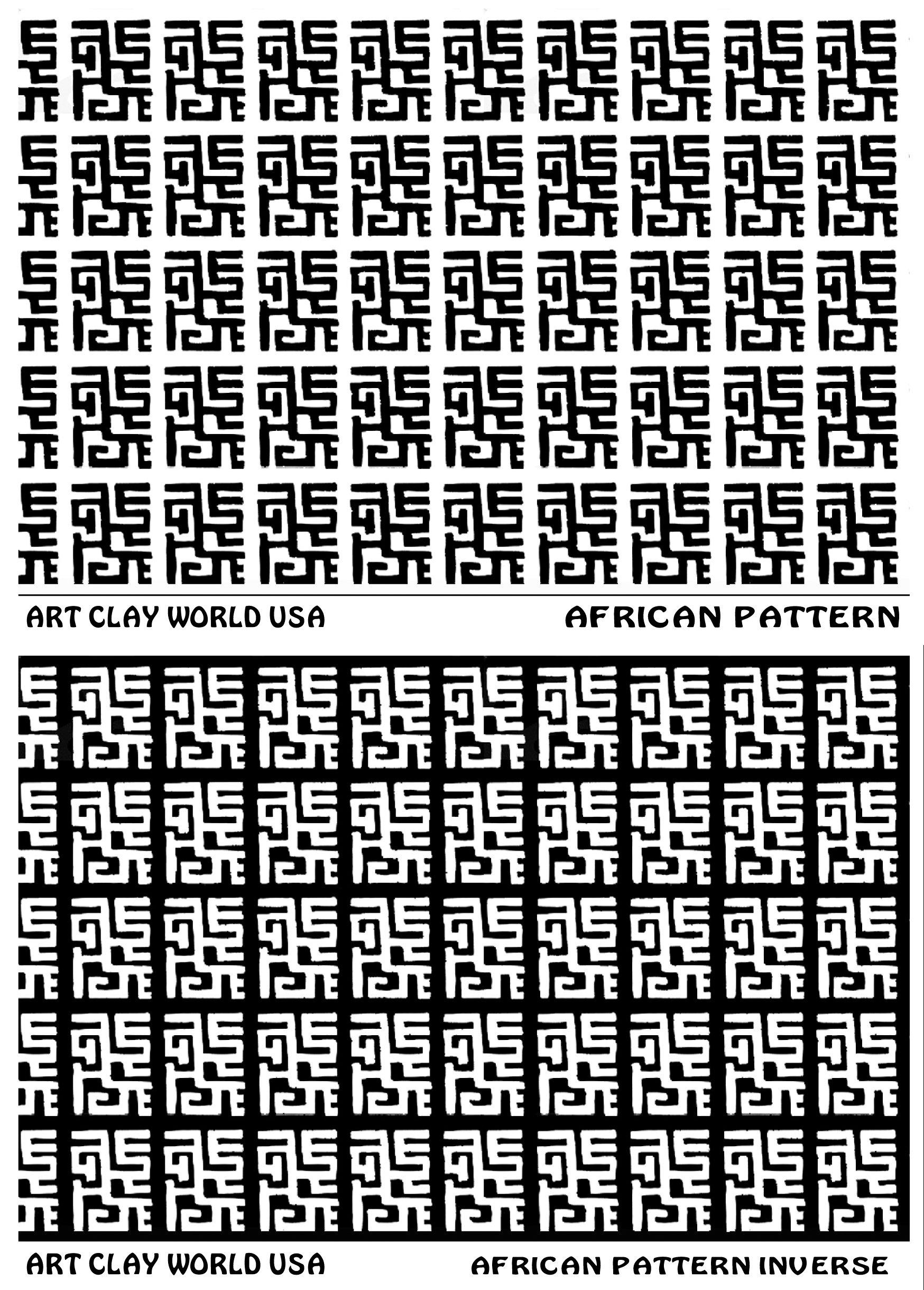 Flexistamps Texture Sheet Set African Pattern Designs (Including African Pattern and African Pattern Inverse)- 2 Pc.