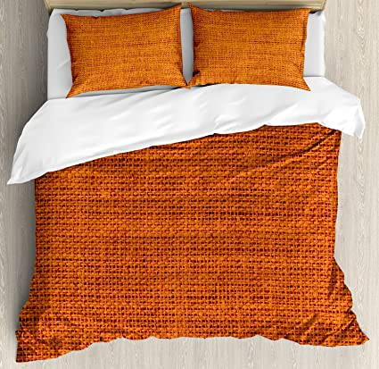 Ambesonne Burnt Orange King Size Duvet Cover Set Rough Texture Close Up Thick Fabric Image Print Country Living Rustic Style Theme Picture A