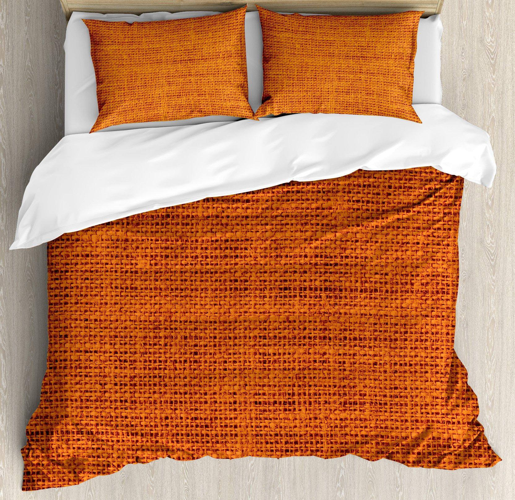Burnt Orange Duvet Cover Set King Size by Ambesonne, Faded Burlap Texture Background of Macro Thick Fabric Graphic Mat Decor Artrpint, Decorative 3 Piece Bedding Set with 2 Pillow Shams, Burnt Orange