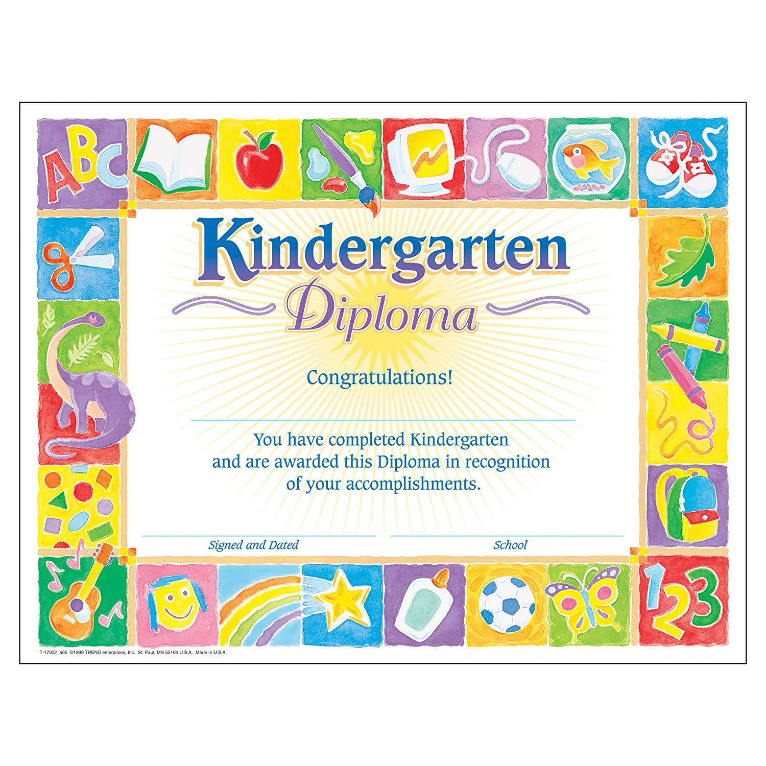 amazon com trend enterprises inc classic kindergarten diploma 30