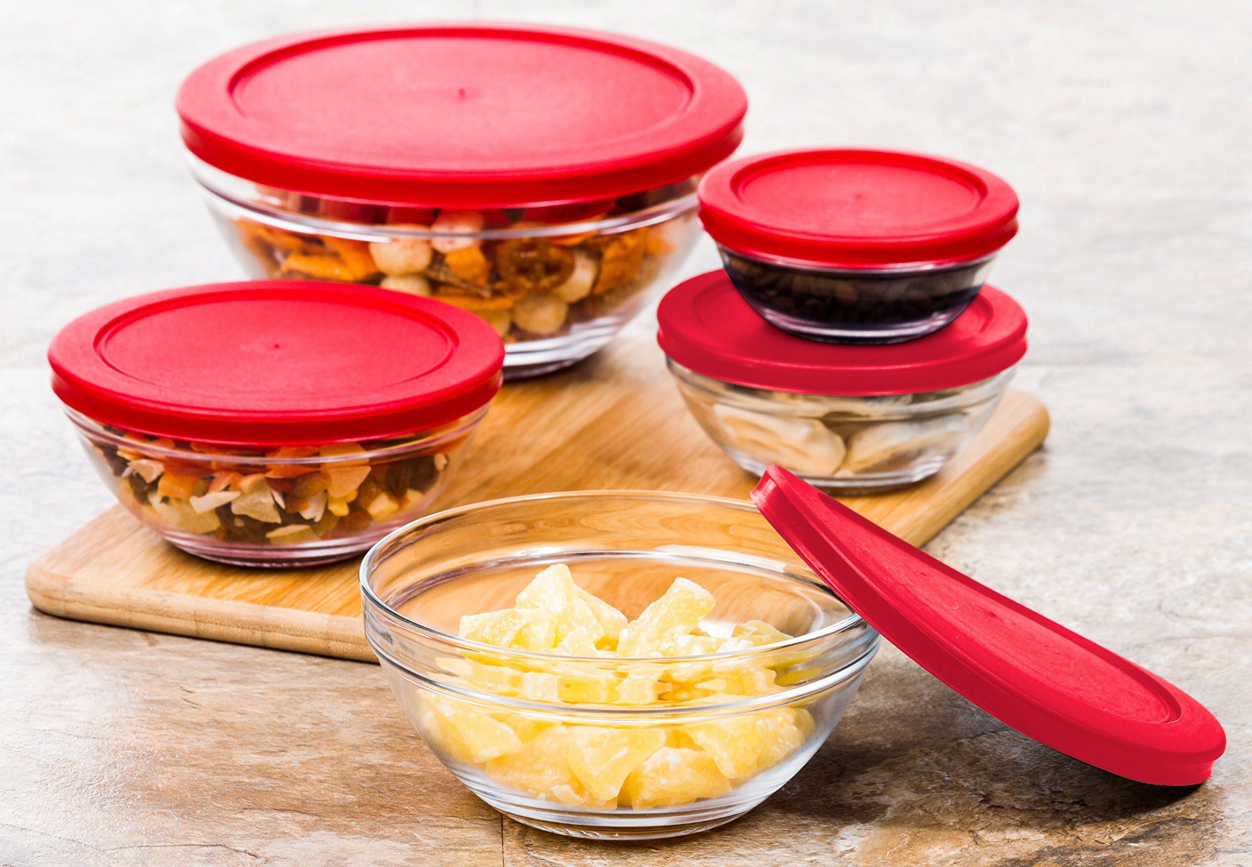 Multi Purpose Glass Bowls Food Storage Containers Set - 10 Pc Glass Kitchen Containers w/ Snap Tight Lids (Red)