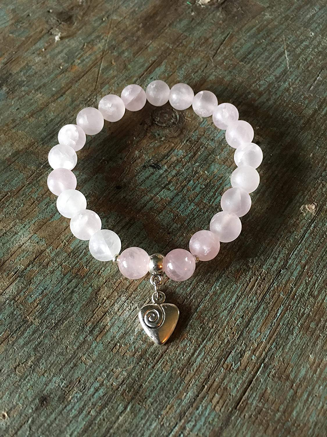 Compassion Inner Peace and Reiki Charged 8mm Beads Rose Quartz Bracelet with Heart Charm for Love