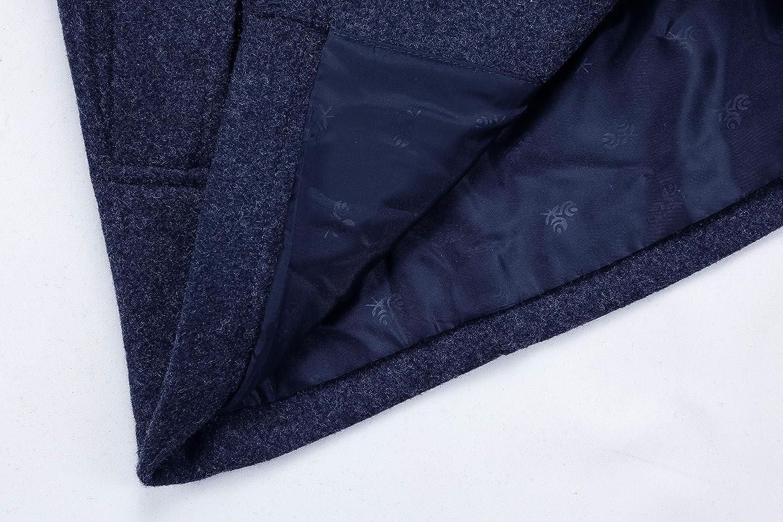 ELETOP Mens Coat Wool Jacket Single Breasted Winter Pea Coat Detachable Collar Windbreaker