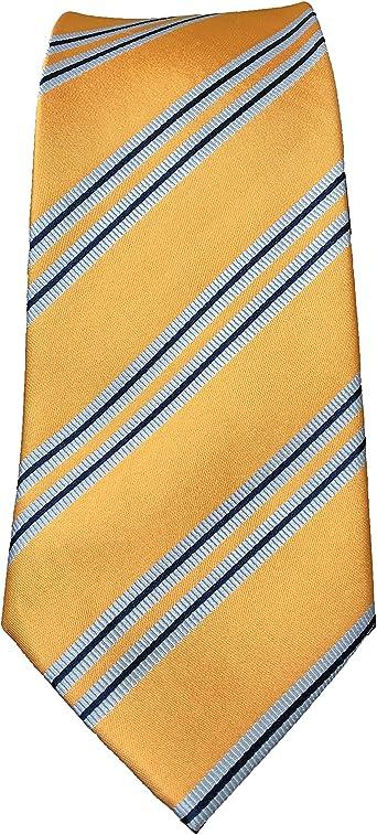 Corbata amarilla rayas azules, en seda, fabricada a mano, muy ...