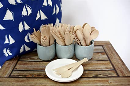 Rustic 210 Pack Disposable Wooden Cutlery Set 6.5u0026quot; with 10 Wheat Straw Plates | 3 & Amazon.com: Rustic 210 Pack Disposable Wooden Cutlery Set 6.5