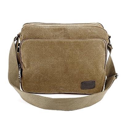 Anladia Men's Multifunctional Canvas Messenger Handbag Outdoor Sports Over Shoulder Crossbody Side Bag
