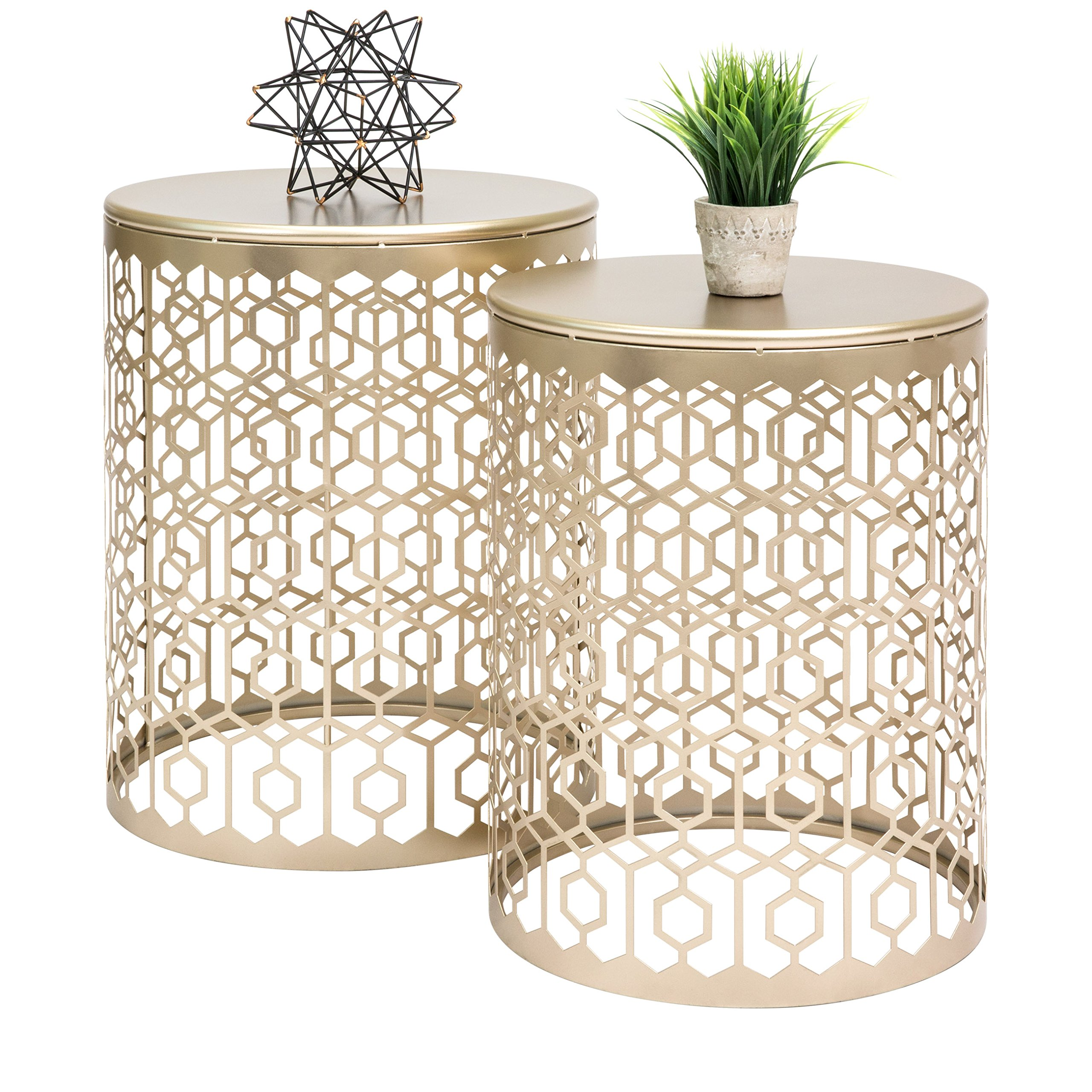 Best Choice Products Set of 2 Indoor Outdoor Decorative Nesting Round Side End Accent Coffee Table Nightstands - Gold