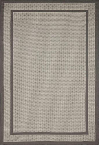 Unique Loom Outdoor Border Collection Casual Solid Transitional Indoor and Outdoor Flatweave Gray Area Rug 6' 0 x 9' 0