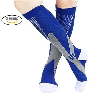 89af753377 VAGUE SWEET 2 Packs Men,Women Knee High Graduate Moisture Wicking  Compression Socks,Best