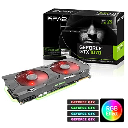 KFA2 GeForce® GTX 1070 EXOC-SNPR GeForce GTX 1070 8GB GDDR5 - Tarjeta gráfica (GeForce GTX 1070, 8 GB, GDDR5, 256 bit, 4096 x 2160 Pixeles, PCI ...