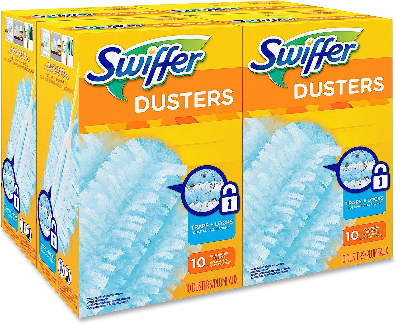 Swiffer 21459CT Refill Dusters, Dust Lock Fiber, Light Blue, Unscented, 10/Box, 4 Box/Carton