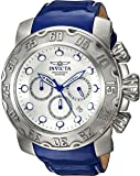 Invicta Men's 'Lupah' Quartz Stainless Steel and Leather Casual Watch, Color:Blue (Model: 22391)