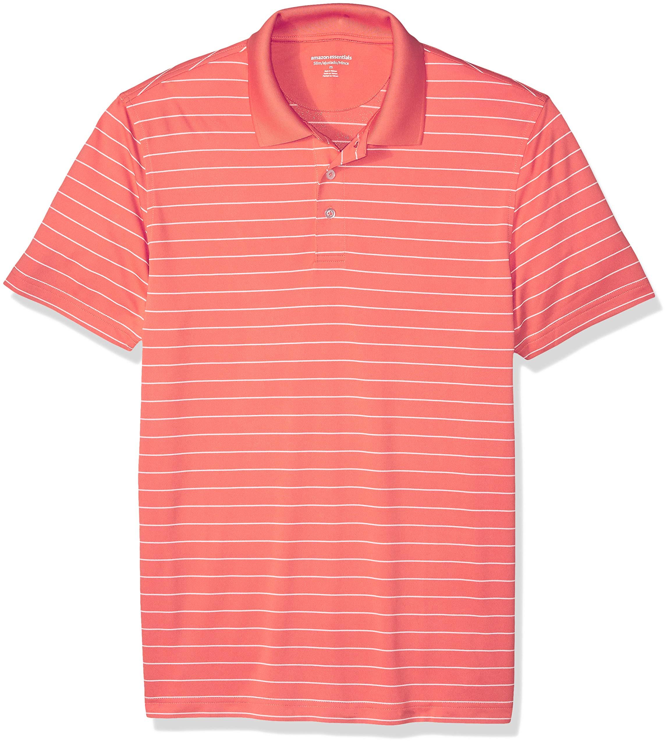 Amazon Essentials Men's Slim-Fit Quick-Dry Golf Polo Shirt, Coral Stripe, X-Small