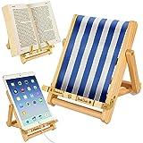Wooden Bookholder Recipe Book Phone Holder eReader iPad Tablet Stand Rest Gift Idea (Stripy Blue (Deckchair))