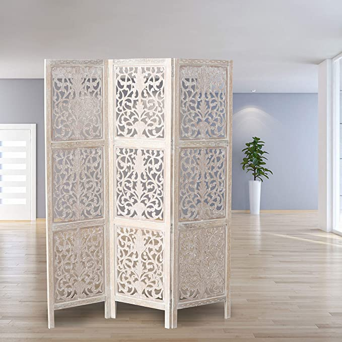 Key West Screen,Room Divider, Carved Floral Motifs, 3 Panels, Vintage Style, Rustic Brown, White Wash Distressed Finish, Sustainable Wood, Approx. 6 ...