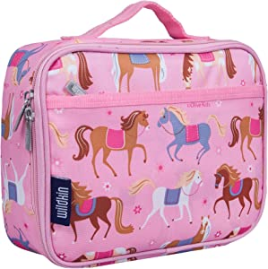 Wildkin Kids Insulated Lunch Box for Boys and Girls, Perfect Size for Packing Hot or Cold Snacks for School and Travel, Mom's Choice Award Winner, BPA-free, Olive Kids (Horses)