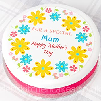 Happy Mother S Day Cake Topper Edible Icing Spring Bouquet Design Round Or Square