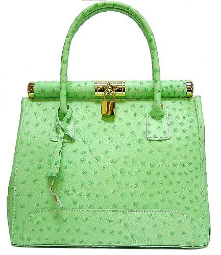 Women s Ostrich Leather Holdall Handbag with Lock 5634b8b5419b2