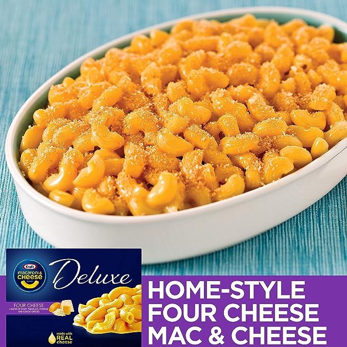 Kraft - Macarrones y queso cena de lujo, cuatro salsa de queso, cajas de 14 onzas (paquete de 4)