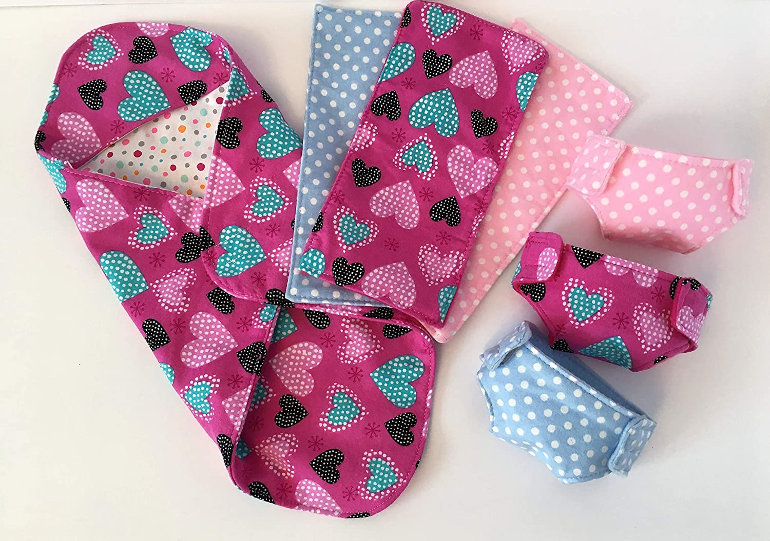 Hearts Baby Doll Swaddle Blanket Diapers and Burp Cloths set to fit up to 18in Dolls