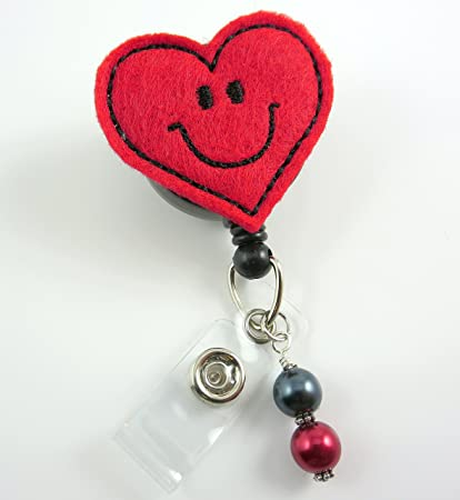 Smiley Happy Heart - Nurse Badge Reel - Retractable ID Badge Holder - Nurse  Badge - Badge Clip - Badge Reels - Pediatric - RN - Name Badge Holder