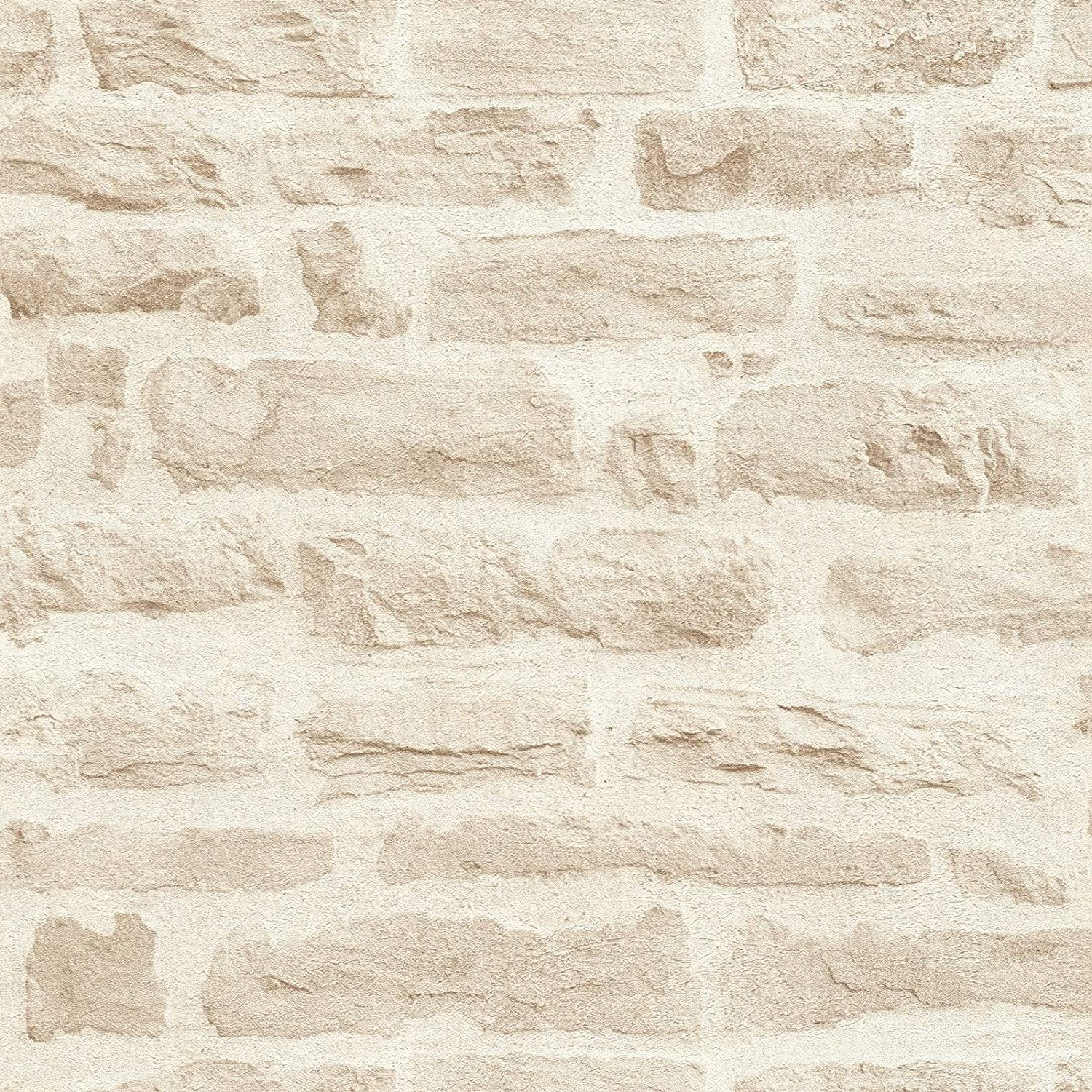 Rollo Cr/éation Best of Wood`n Stone 2nd Edition Papel pintado tnt ladrillo Papel imitacion piedra Papel imitacion ladrillo oficina beige 355803 35580-3 A.S beige 10,05 x 0,53 m = 5,33 m/²