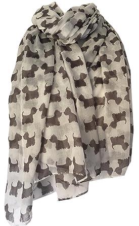 Westie Scarf Grey White West Highland Terrier Dogs Ladies Scottie Dog Wrap Shawl