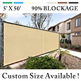 Royal Shade 5' x 50' Beige Fence Privacy Screen Windscreen Cover Netting Mesh Fabric Cloth - Get Your Privacy Today, Stop Neighbor Seeing-Through Stop Dogs Barking Protect Property WE MAKE CUSTOM SIZE