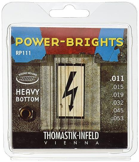 Thomastik Cuerdas para Guitarra Eléctrica Power Brights Series Heavy Bottom juego RP111 Medium .011-