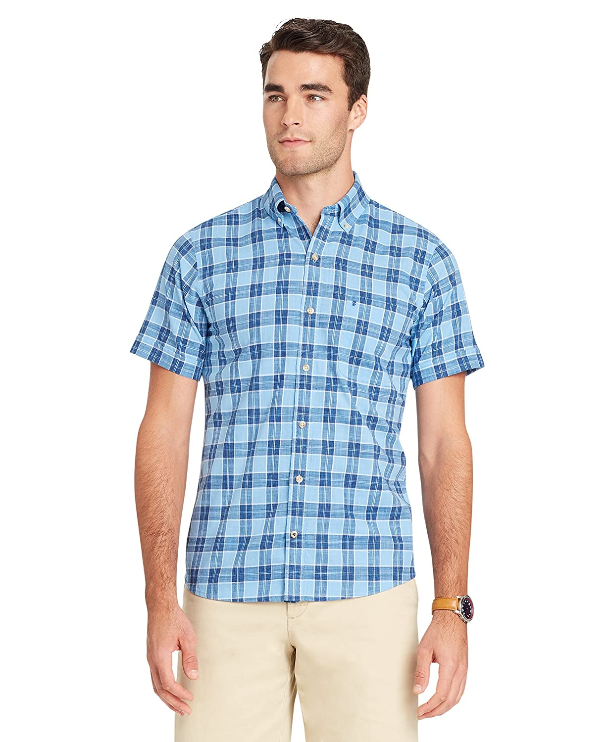 IZOD Men's Saltwater Dockside Chambray Plaid Short Sleeve Shirt 82SW898