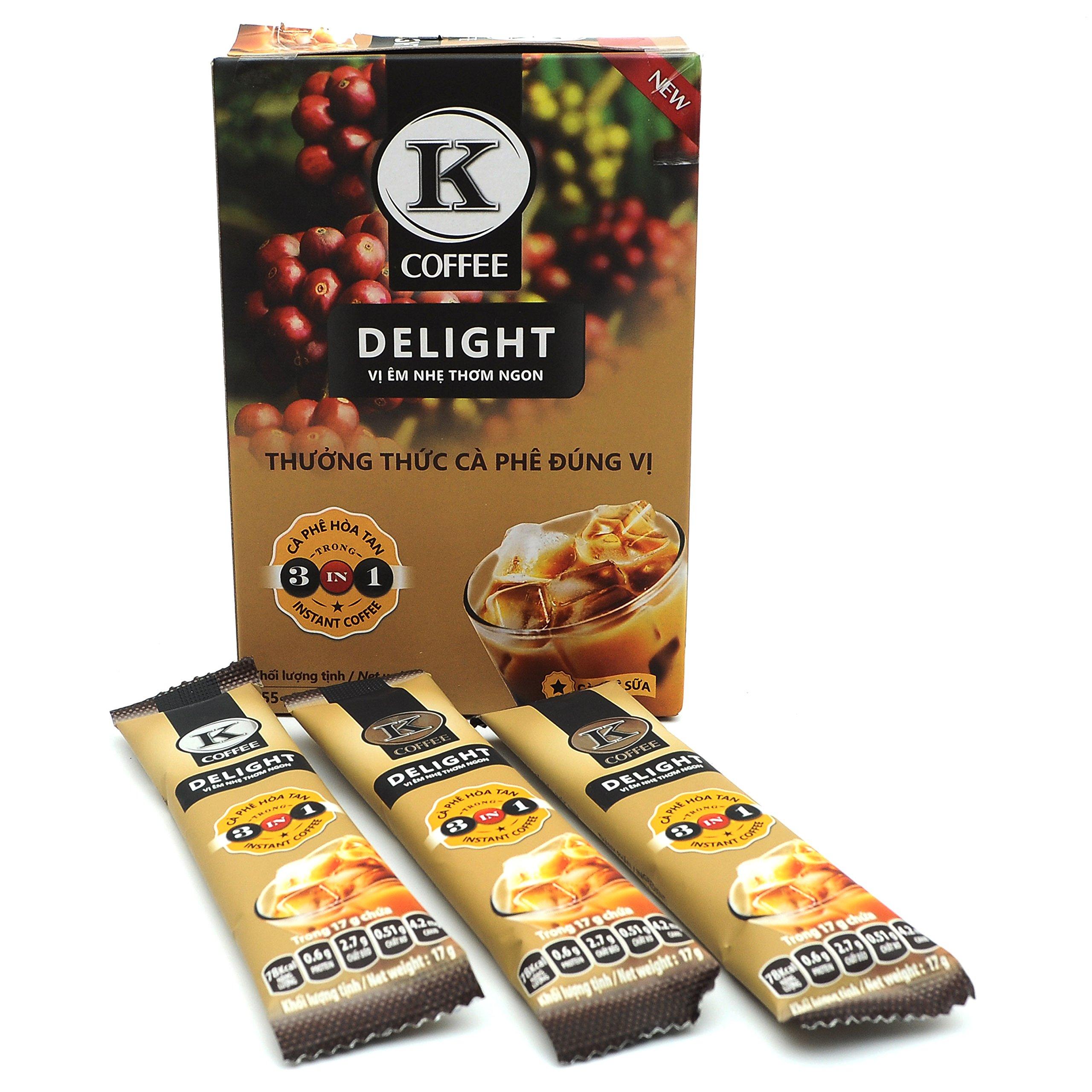 K-Coffee Milk Instant 3-in-1 Delight Astonishing True Aroma Vietnam 255g (15 sachets x 17g)