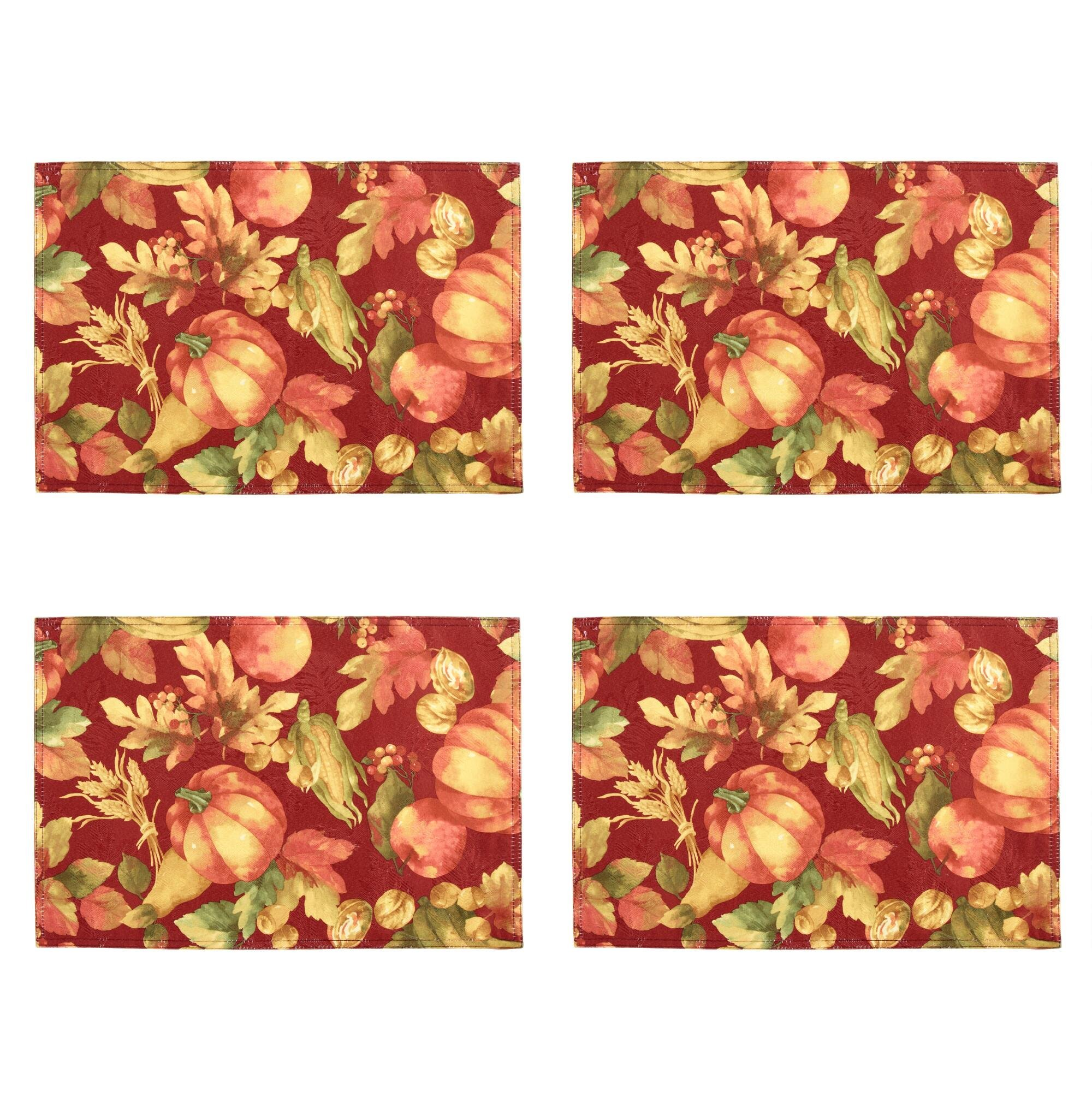 Elrene Home Fashions Fall Plentiful Harvest Placemats, Set of 4