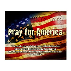 """2 Chronicles 7:14-""""If My People""""-Bible Verse Wall Art -14 x 11"""" American Flag Scripture Print-Ready to Frame. Inspirational Home-Office-Church-Christian-Patriotic Decor. Reminder to Pray for America!"""