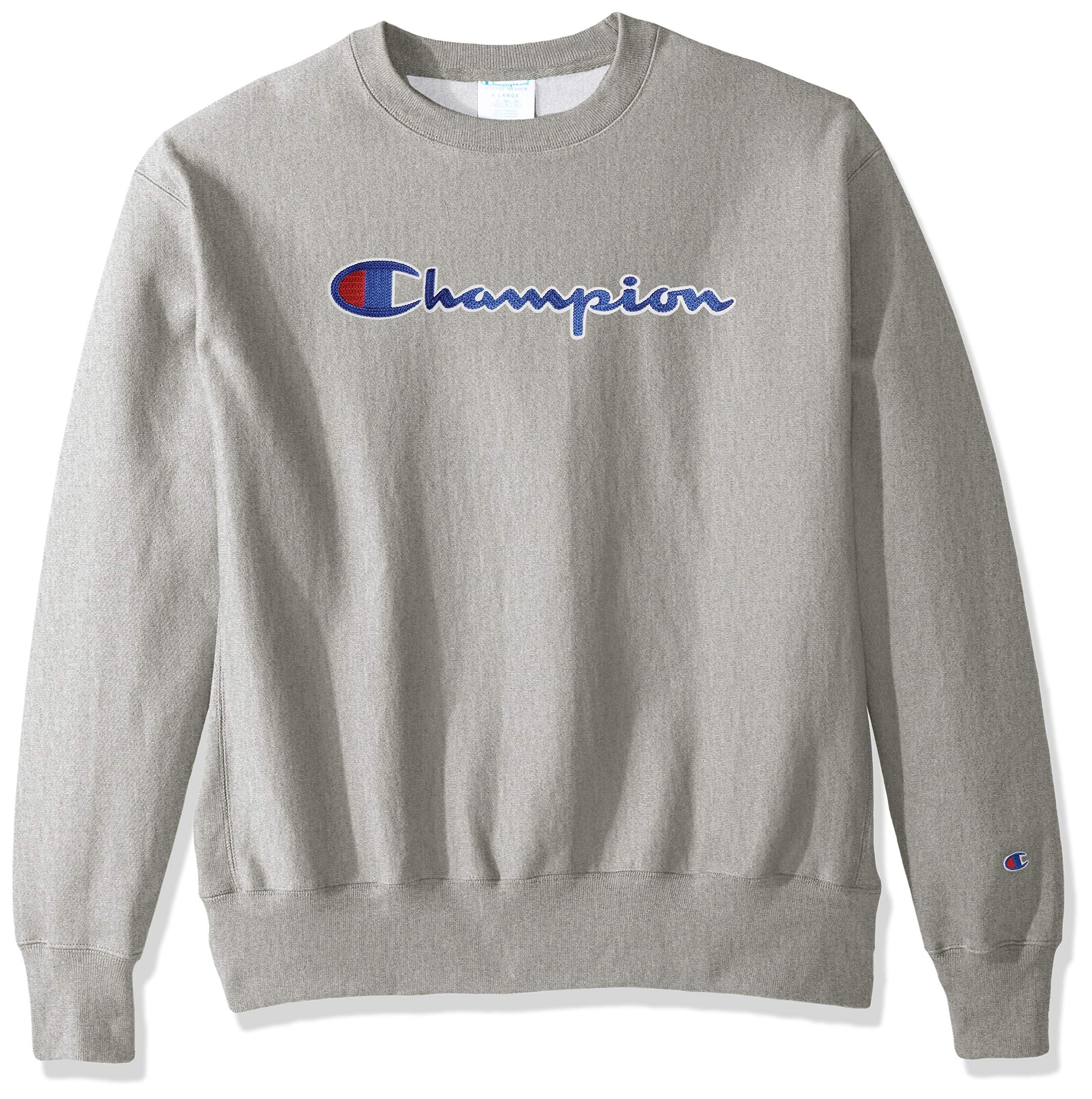 Champion LIFE Men's Reverse Weave Sweatshirt, Oxford Gray/CHAINSTITCH Script, Large by Champion LIFE