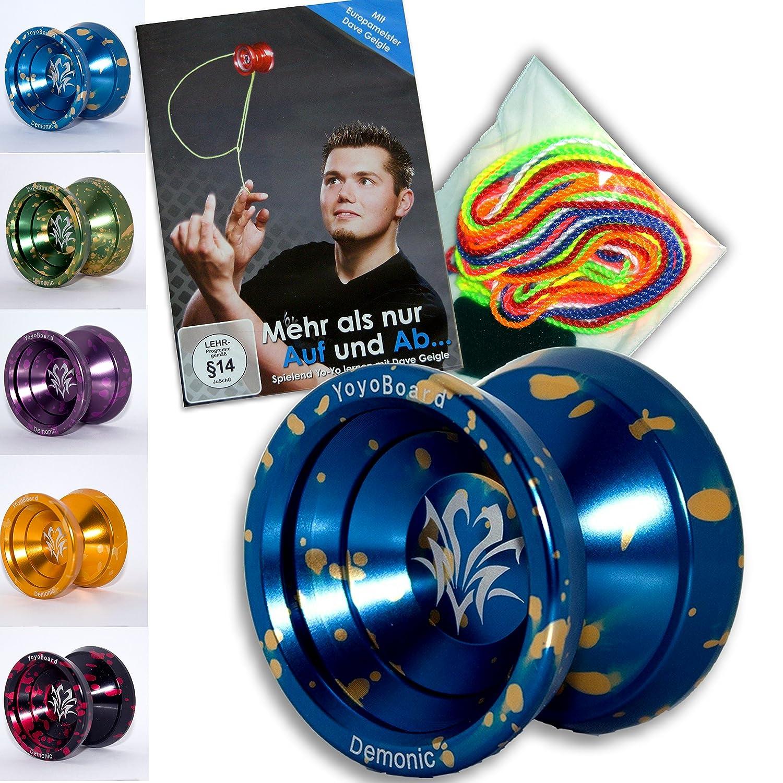 Yoyo Starter-Set: 1x ALU Yoyo Demonic, 1x Jojo Trick Lern DVD, 1x Fingerprotector + 7 Yo-Yo Schnüre (Grün-Gold)