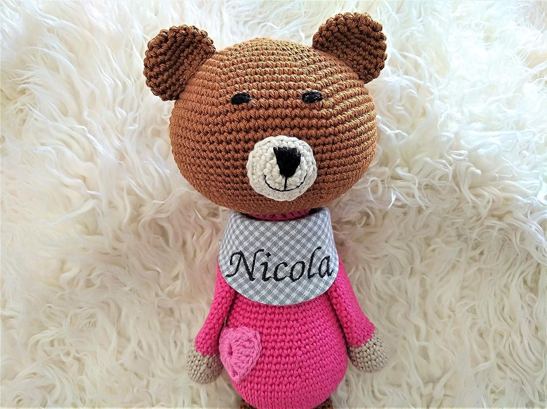 Handmade Teddybär Kuscheltier mit Namen personalisiert gehäkelt Baby Geschenk zur Geburt Taufe Mädchen Geburtsgeschenk Namensgeschenk