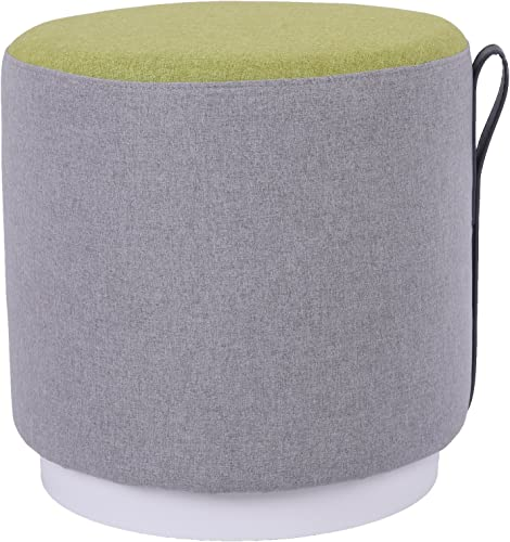 MEXIYA Della Green Textured Velvet Ottoman with Gold Finish Stainless Steel Base