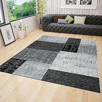 Wohnzimmer Kurzflor Teppich Modern In Grau Schwarz Weiß Kariert Mit Kachel  Optik Sehr Pflegeleicht In Der