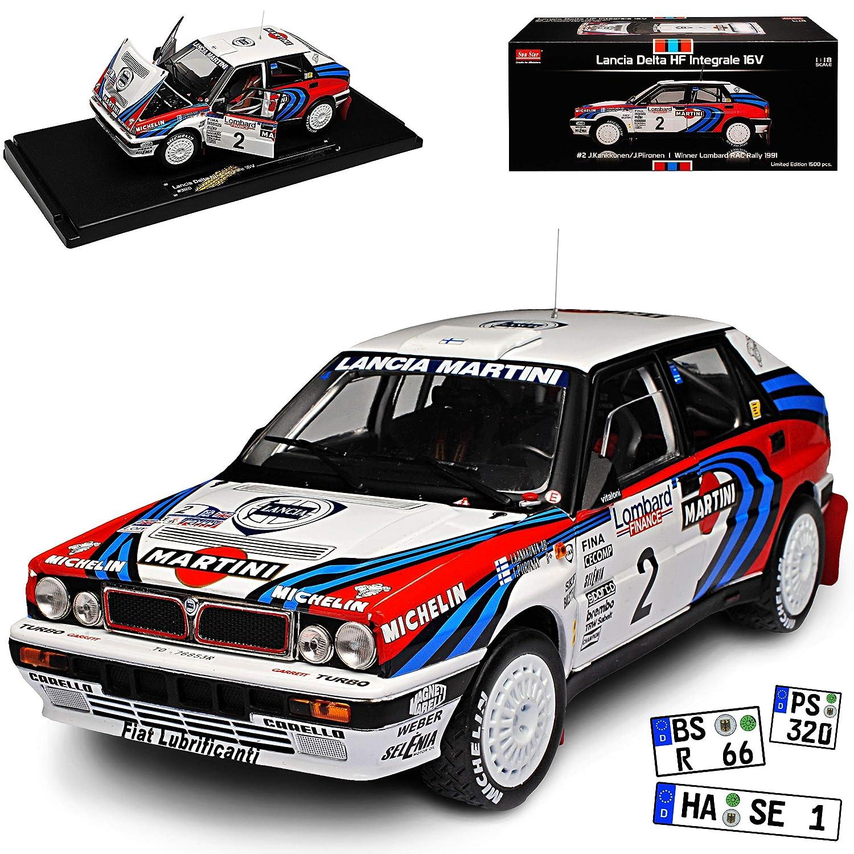 Sun Star Lancia Delta HF Integrale 16V Rally Weiss Kankkunen Gewinner Rallye Lombard 1991 1/18 Modell Auto mit individiuellem Wunschkennzeichen