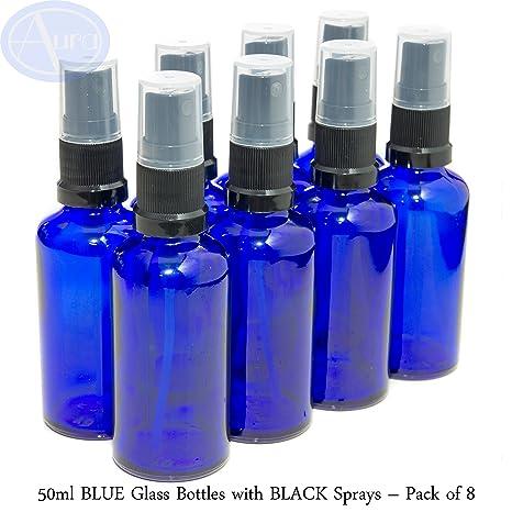Pack de 8 botellas con atomizador negro - Cristal azul - 50 ml Uso para aceites