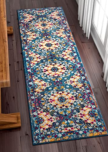 Well Woven Suzani Boho 2×7 2 3 x 7 3 Runner Area Rug Garden Blue Yellow Distressed Traditional Vintage Floral Oriental