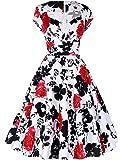 Belle Poque Damen Kappen Hülse V-Ausschnitt Retro Vintage Baumwolle Party Picknick Kleid BP01