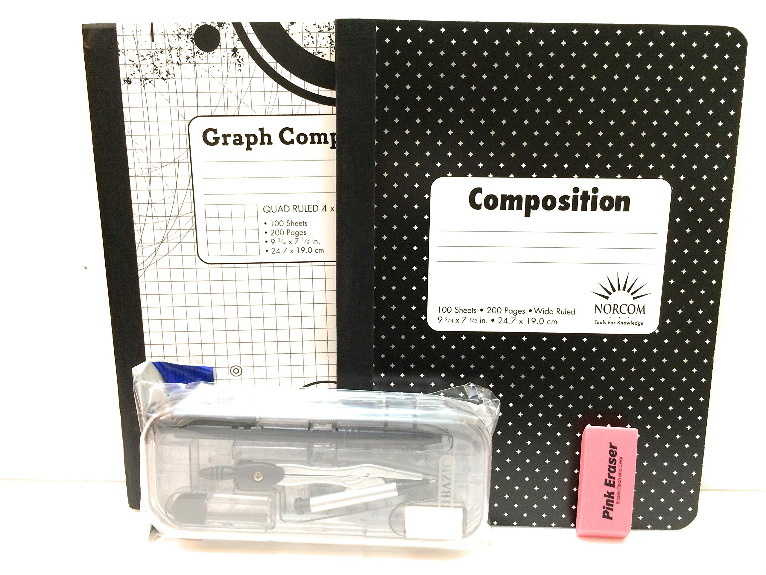 Multi-Brands Black & White Diamond Graph Book And Protractor 12 Pc Bundle