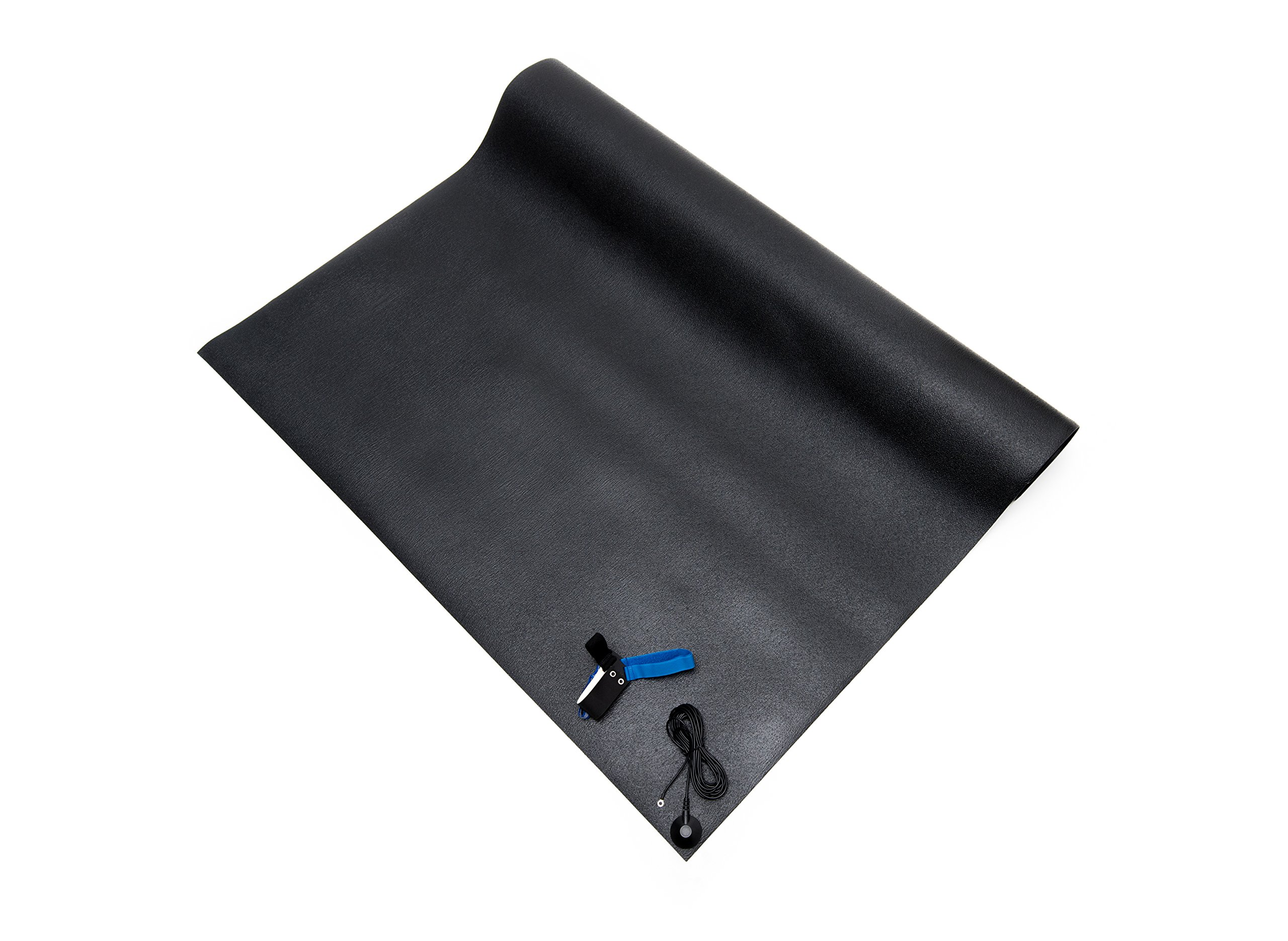 Bertech PVC Conductive Floor Mat Kit with a Heel Grounder & Ground Cord, 4' Wide x 6' Long x 0.08'' Thick, Black